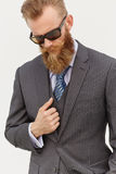 Model in suit and sunglasses Royalty Free Stock Photos