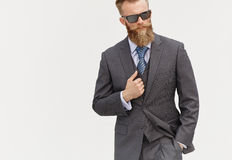 Model in suit and sunglasses Royalty Free Stock Photo