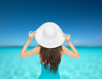 Model in swimsuit with hat Stock Images