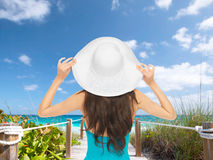 Model in swimsuit with hat Royalty Free Stock Photo