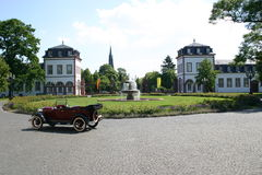 Model t in front of Phillipsruhe. An old model t in front of the castle Phillipsruhe, in germany stock photo