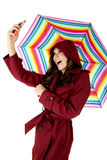 Model taking selfie holding colorful umbrella Stock Photography