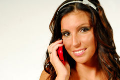 Model talking on her cell phone Stock Photo