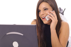 Model talking on the phone checking email upclose Royalty Free Stock Photo
