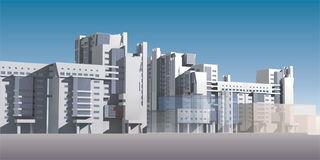 Model of Tall White Buildings Royalty Free Stock Images