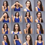 Model tests Collage of emotions - portrait of a young beautiful brunette woman on a gray background royalty free stock image