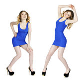 Model tests, Young blonde models in blue dress Royalty Free Stock Photos