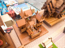 Model Thai house, made from wood Royalty Free Stock Photography