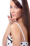 Model throws kisses Royalty Free Stock Image
