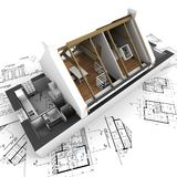 Model tonend het huisbinnenland van de architectuur stock illustratie