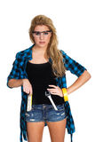 Model with tool items Royalty Free Stock Photo