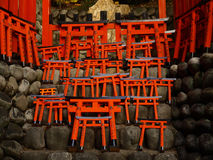 Model of Torii Gate at Fushimi Inari Shrine. Little wooden torii gate at Fushimi Inari Shrine Stock Photo