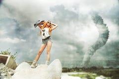 Asian Model Tornado long legs Stock Photography