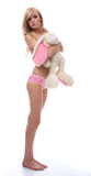 Model with toy bunny Stock Images