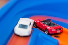 Scale model toy cars accident on the road. Traffic jam. Stupidity. Royalty Free Stock Photography