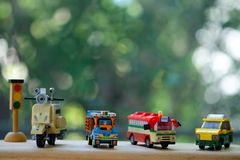 Model toy of public Thai service public transportation. With nature background. Concept of public transportation stock images