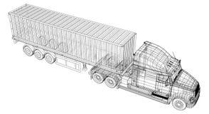 Model trailer truck. Wire-frame. EPS10 format. Vector rendering of 3d royalty free illustration