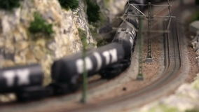 Model train is driving stock video