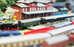 Model of train on railstation. Royalty Free Stock Photo