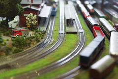 Model of train on railstation. Royalty Free Stock Photography
