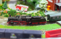 Model of train on railstation. Stock Photography