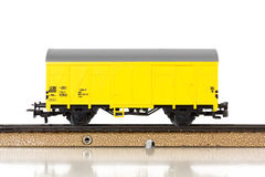 Model Train`s Boxcar on the Rails Royalty Free Stock Images