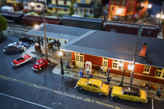 Model train station diorama scene Royalty Free Stock Photo