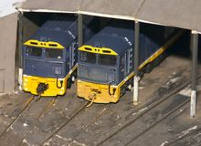 Model Trains. In a railway shed Stock Photo