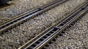 Model trains scale railroad. Miniature stock footage