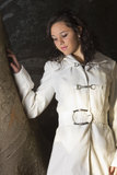 Model outdoors pretty with jacket Royalty Free Stock Photography