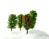 Model Trees. Studio macro of four model trees in deep snow against a white background. Copy space stock photo