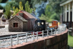 Model trein bij post 2 Royalty-vrije Stock Afbeeldingen