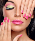 Model with trendy make up. stock photo