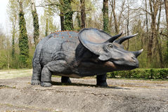 Model of Triceratops Dinosaur Outdoors. Profile of Model of Triceratops Dinosaur, an Herbivorous Ceratopsian Dinosaur that Lived During Cretaceous Period, in Stock Image