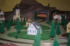 Model of the tunnel and houses royalty free stock photography