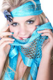 Model with turquoise colors Royalty Free Stock Photo