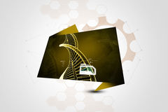 Model of twisted chrome DNA chain Royalty Free Stock Image