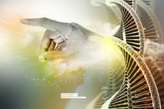 Model of twisted chrome DNA chain and hand. In color background Stock Images