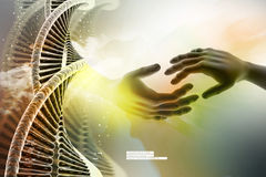 Model of twisted chrome DNA chain and hand. In color background Stock Photo