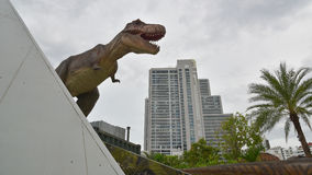 Model of tyrannosaurus. In the city Royalty Free Stock Photography