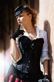 Model ubierający w wiktoriański lub steampunk stylu Obraz Stock