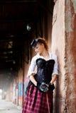 Model ubierający w wiktoriański lub steampunk stylu Zdjęcie Stock