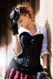 Model ubierający w wiktoriański lub steampunk stylu Zdjęcia Royalty Free