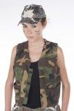 Model ubierający jako militarny jurgieltnik Obrazy Royalty Free