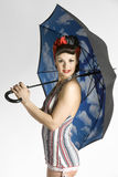 Model with umbrella. Isolated on white background Royalty Free Stock Photography