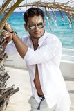 Handsome model wearing white shirt stock image