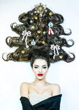 Woman with Christams hair style Stock Image