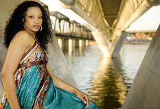 Model in Urban waterfront Setting Royalty Free Stock Photography