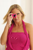 Model Using Pink Toy Camera Stock Images
