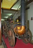 Model van de eerste stoomlocomotief op vertoning bij spoorwegmuseum in Belgrado, Servië Stock Foto